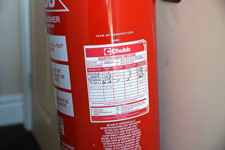 Fire extinguisher needs servicing