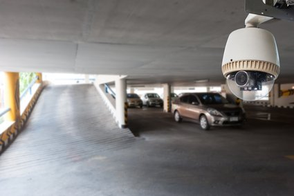 CCTV Camera Operating in car park building
