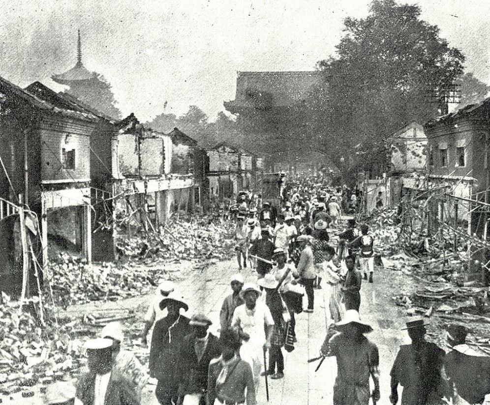 Destruction of the area around Sensō-ji temple in Asakusa